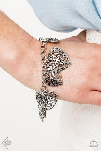 Completely Devoted - Silver Heart Charm Bracelet