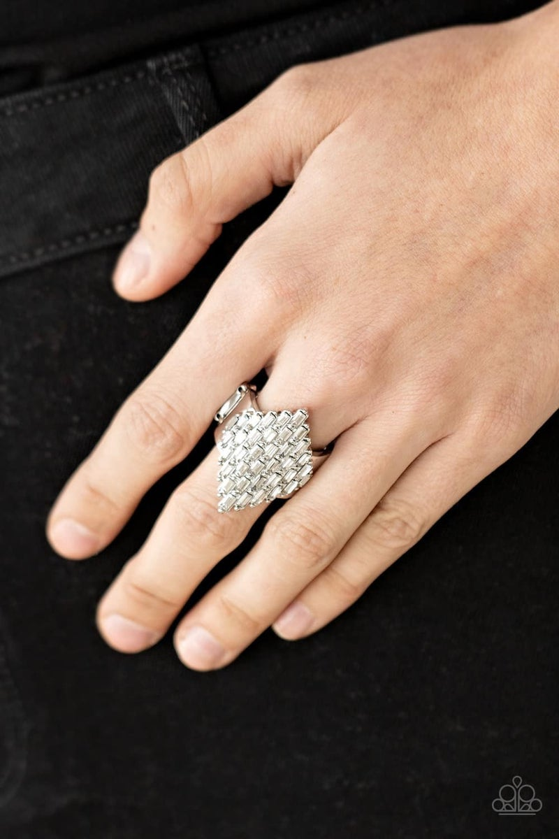 Hive Hustle - Silver with White Rhinestones Ring - May 2021 Life of the Party Exclusive