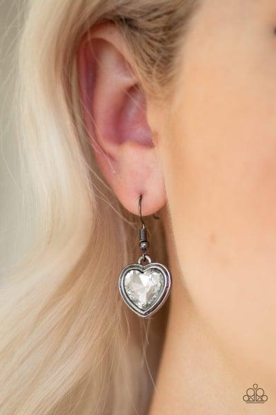 Real Romance - Gunmetal with White Heart-Shaped Rhinestone Earrings