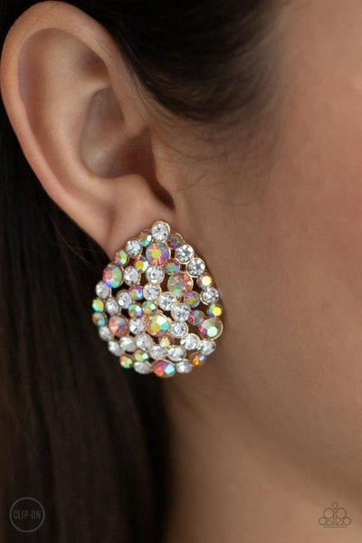 Elite League - Gold with Iridescent multi Rhinestone Clip-On Earrings