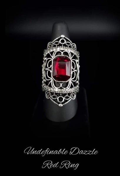 Undefinable Dazzle - Silver Victorian Style with Red Rhinestone Ring - January 2021 Life of the Party Exclusive