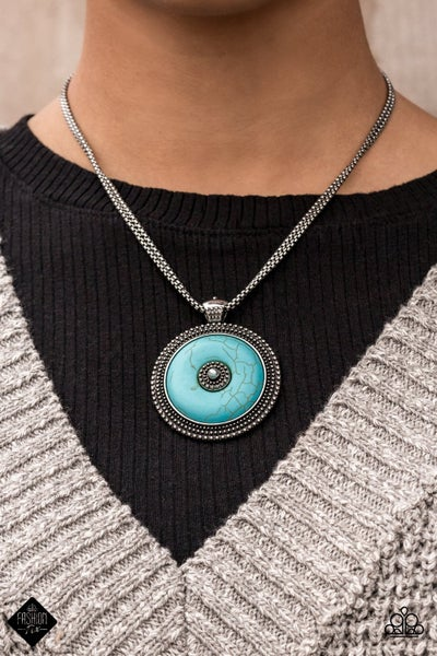 EPICENTER of Attention - Silver with a wheel-shaped Turquoise pendant Necklace & Earrings