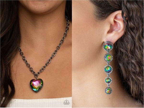 Flirtatiously Flashy & Drippin' In Starlight - Oil Spill Gunmetal Necklace, Earrings & (upgraded) Earrings Two Piece Set