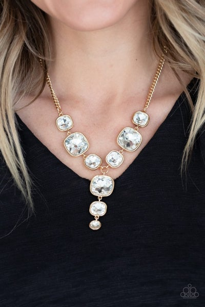 Legendary Luster - Gold with large White Rhinestones Necklace