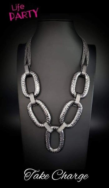 Take Charge Black Gunmetal Life of the Party Exclusive Paparazzi Necklace