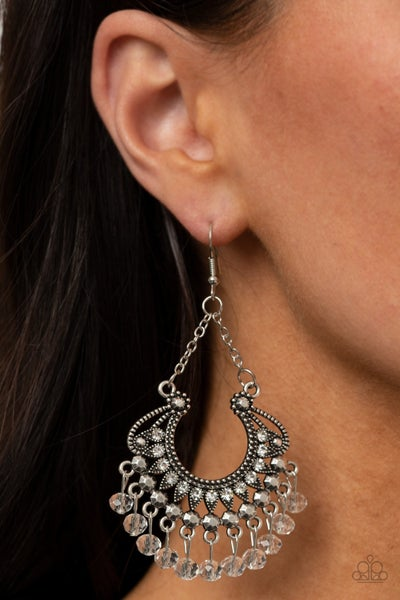 GLOW Down In Flames - Silver horseshoe shaped with White Crystal Chimes Earrings