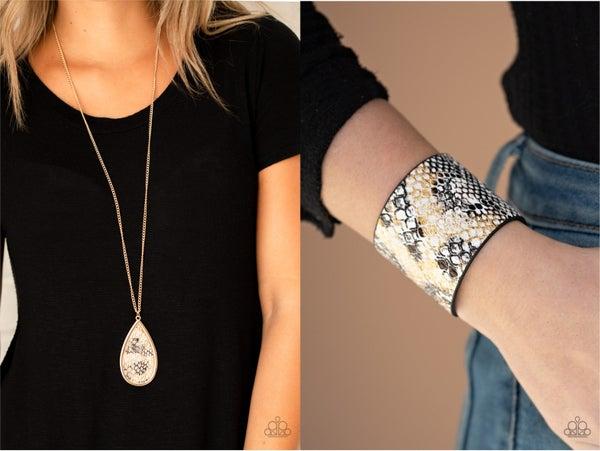 Artificial Animal - Gold Leather Snake Pendant Necklace and Serpent Shimmer - Gold & Black Leather Snake Snap Bracelet Set