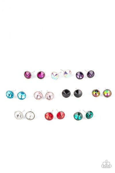 Assorted colors of Rhinestone stud earrings for Kids or the Kid at Heart