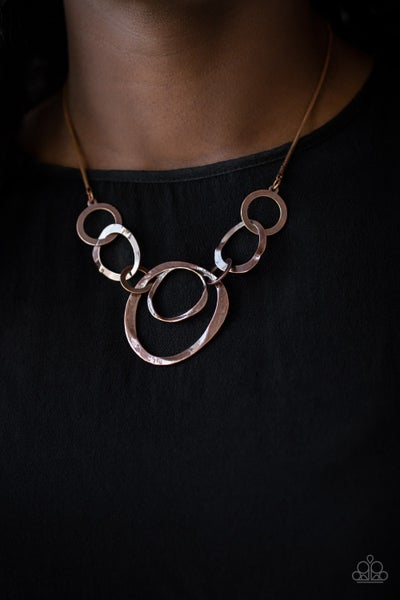 Progressively Vogue - Hammered Copper circle frames Necklace & Earrings