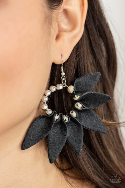 Pre-Order Flower Child Fever - Silver Hoops with Black Leather Petals Earrings