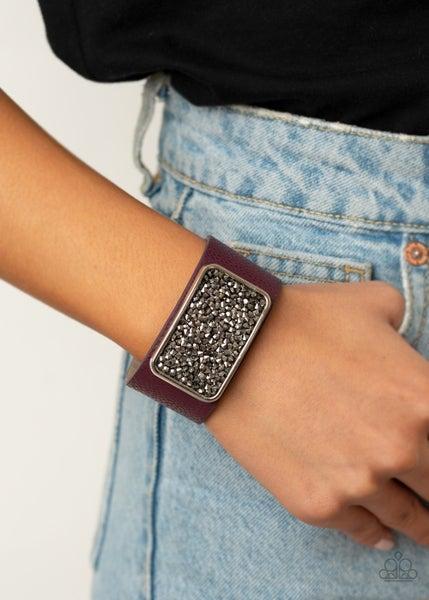 Interstellar Shimmer - Purple with Druzy rectangle Snap Bracelet