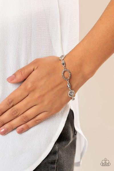 Wedding Day Demure - Silver Ovals encrusted with Hematite Rhinestones Bracelet