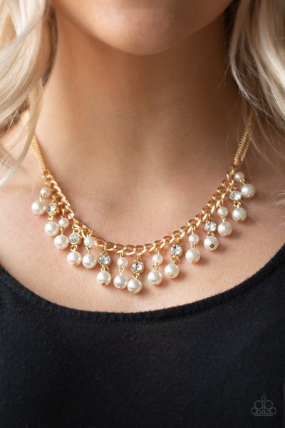 Pre-Sale Regal Refinement - Gold with Pearl & Rhinestone Tassels Necklace & Earrings