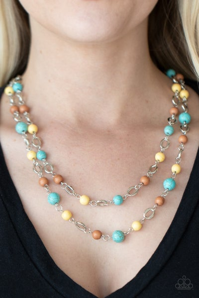 Essentially Earthy - Silver layers with Multi-Brown, Turquoise & Yellow Stones Necklace & Earrings