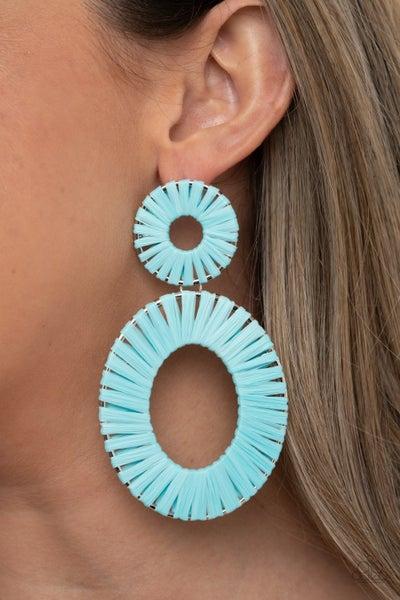 Foxy Flamenco - Silver wrapped in Blue leather double Hoop Earrings