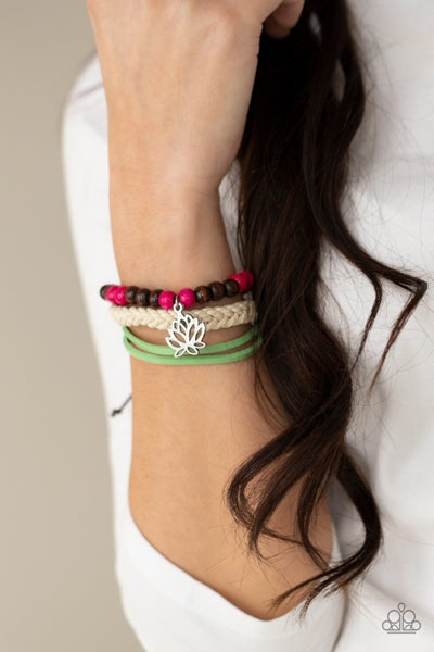 Pre-Sale Lotus Beach - Silver Lotus Charm on Layers of Pink, Green, White & Brown Wood and Cordage sliding knot/pull-tight Bracelet