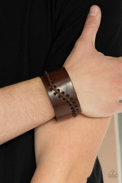 Every STITCH Way - Brown Leather with stitched cordage Snap Bracelet