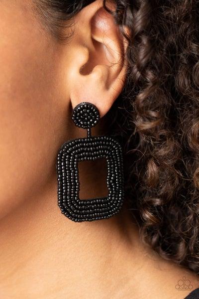 Beaded Bella - Black Seed Bead Earrings