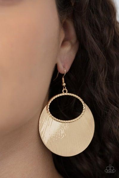Pre-Order Fan Girl Glam - Gold Etched fan-like Earrings