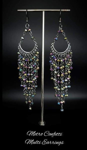 Metro Confetti - Gunmetal & Oil Spill Crystal Earrings - 2/21 Life of the Party Exclusive