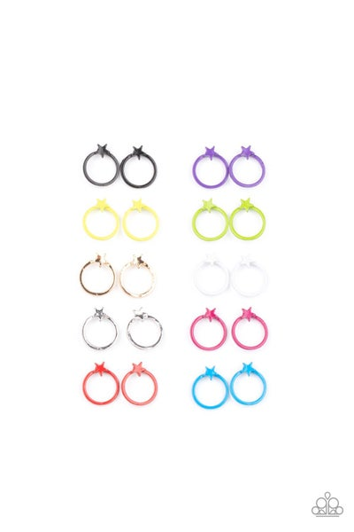 Assorted colors of acrylic post back hoops with a star top Earrings for Kids or the Kid at Heart