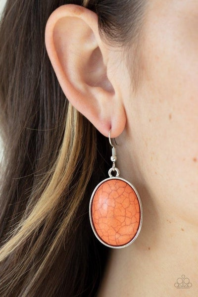 Serenely Sediment - Oval Orange Crackle Earrings