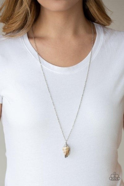 Breaking Out Of My Shell - Silver with Shell lined with Iridescent Silver Lining Necklace