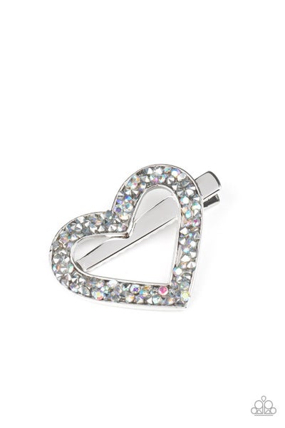 Love is a Battlefield - Silver Heart encrusted with Hematite Rhinestones Hair Clip
