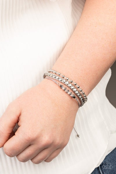 Ultra Modern - White Leather infused with  Silver & a strand of Crystal Beads slip knot/pull tight Bracelet
