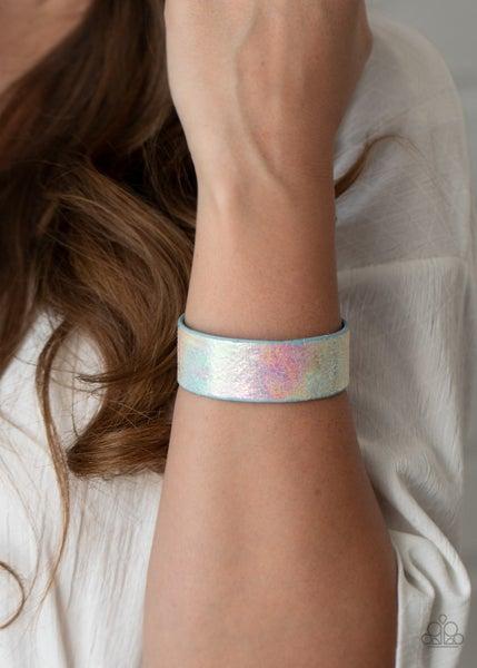Cosmic Karma - Multi - Iridescent Pink & Blue Cuff Bracelet
