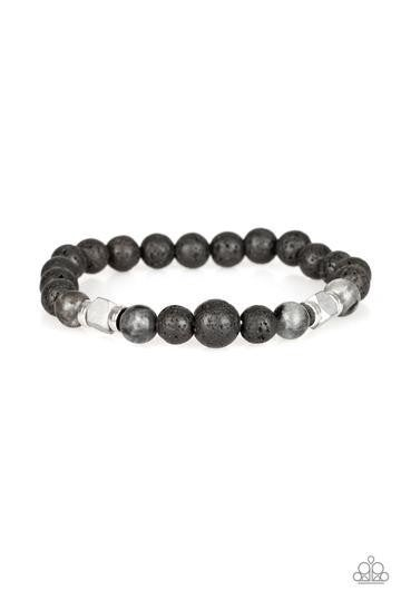 Strength - Silver Moonstones with Lava Beads Bracelet