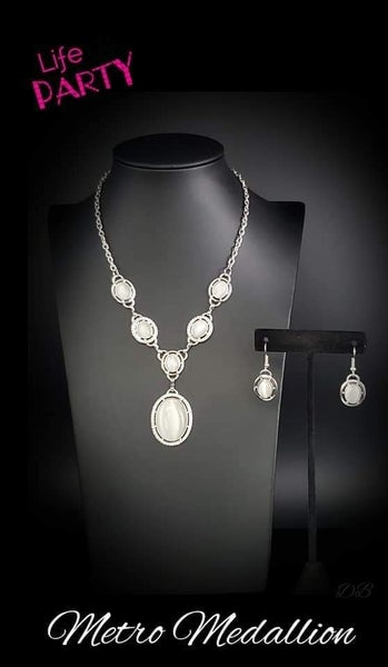 Metro Medallion - Silver with White Moonstone Necklace - September 2019 Life of the Party Exclusive