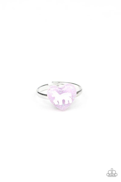Silver with Hearts embossed with a Unicorn Kid's Ring