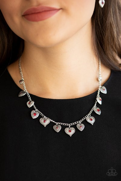 Lovely Lockets - Silver with Heart Charms with Red Rhinestone Center Necklace & Earrings
