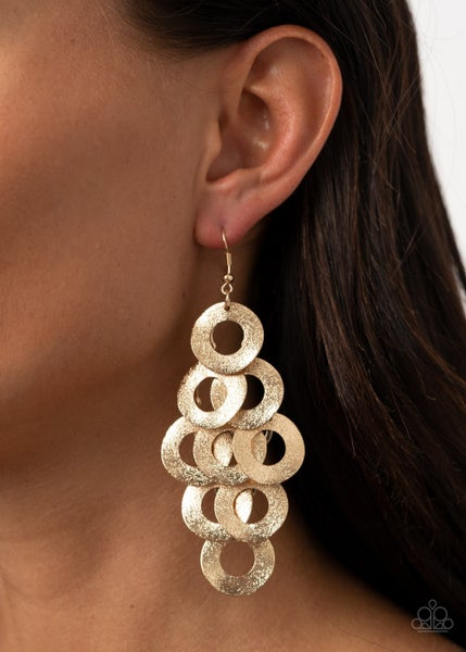 Pre-Sale - Scattered Shimmer - Gold rows of Hoops Earrings
