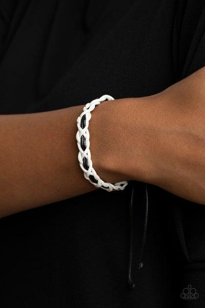 Wanderlust Vibes - White & Black weaved cording slip knot/pull tight Bracelet
