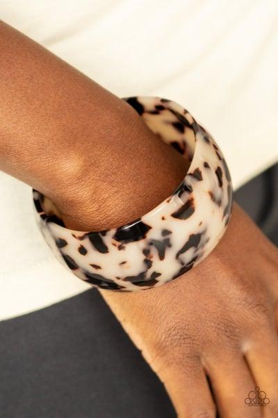 Jungle Cruise - White Tortoise Shell Acrylic Cuff Bracelet
