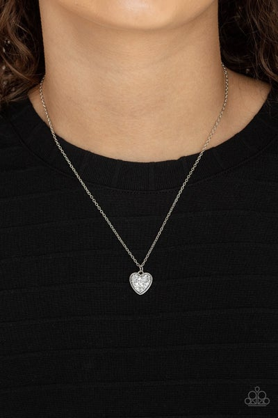 Pitter-Patter, Goes My Heart - Silver with Rhinestone filled Heart pendant Necklace & Earrings