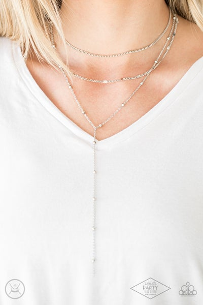 Think Like A Minimalist - Silver choker layers down to single long strand Necklace & Earrings