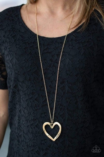 A Mothers Love - Gold with a rhinestone & stamped with the word Mother and a Heart charm Necklace & Earrings