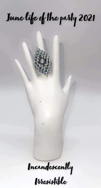 Incandescently Irresistible -Silver with White Moonstone Statement Ring