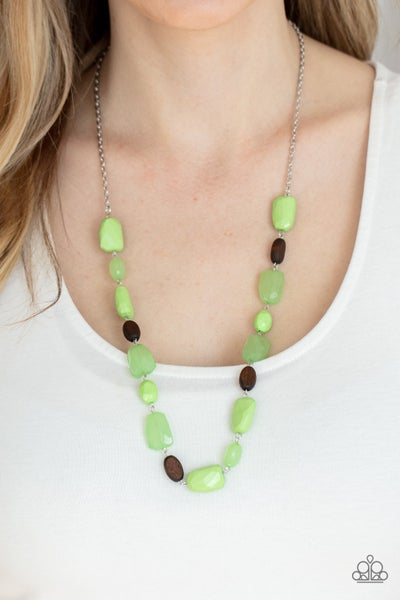 Meadow Escape - Green Monstones with Wood Beads Necklace & Earrings