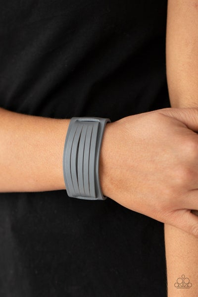 Pre-Sale Ride In Style - Silver Leather with centered Silver Leather straps Snap Bracelet