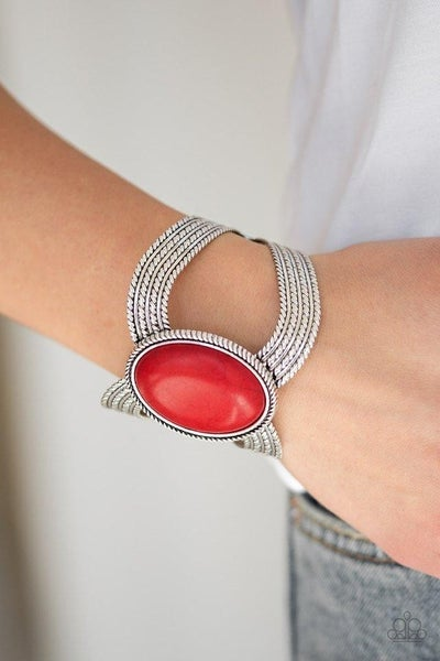 Coyote Couture - Silver with Red Crackle Stone Cuff Bracelet
