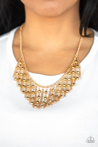 Pre-Order Rebel Remix - Gold Fringe with Gold Crystals Necklace with Earrings