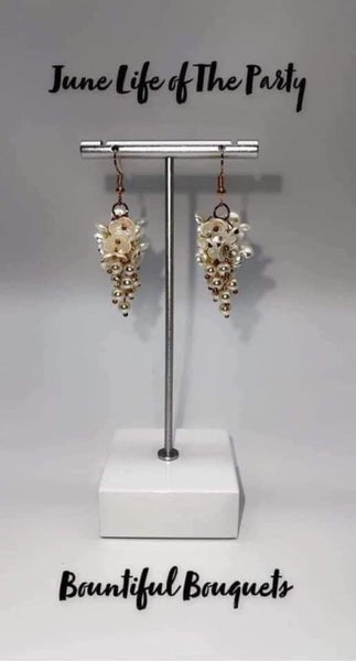 Bountiful Bouquets - Gold with White floral shells Earrings