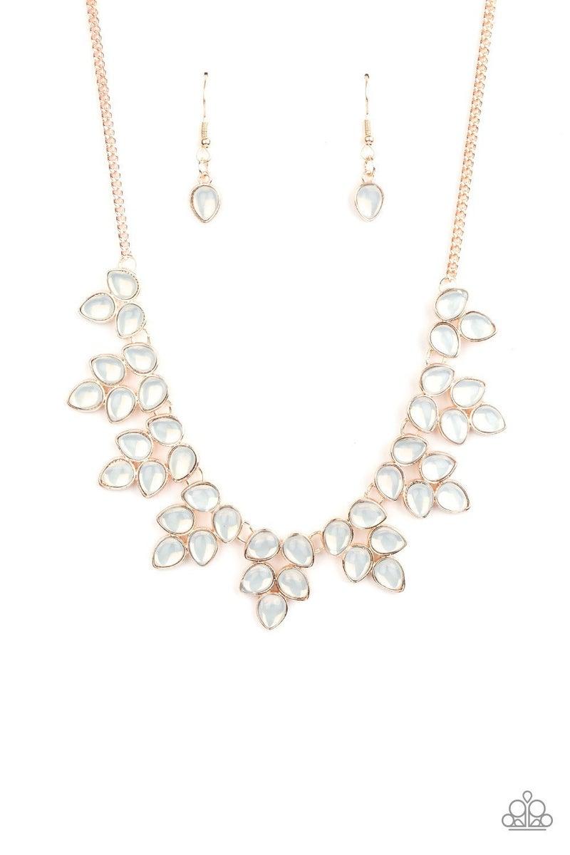Hidden Eden – Rose Gold with White Teardrop Moonstones Necklace & Earrings