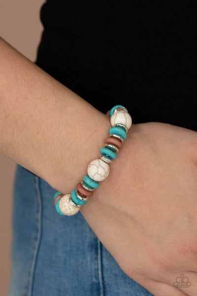 Rustic Rival - Multi, Silver, Turquoise & White Bead Stretch Bracelet