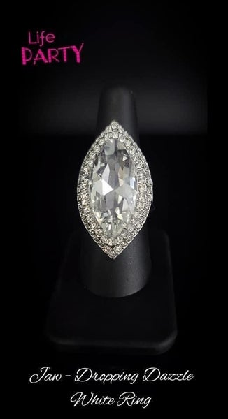 Jaw Dropping Dazzle - Silver with Large Dramatic Rhinestone Ring - April 2020 Life of the Party Exclusive