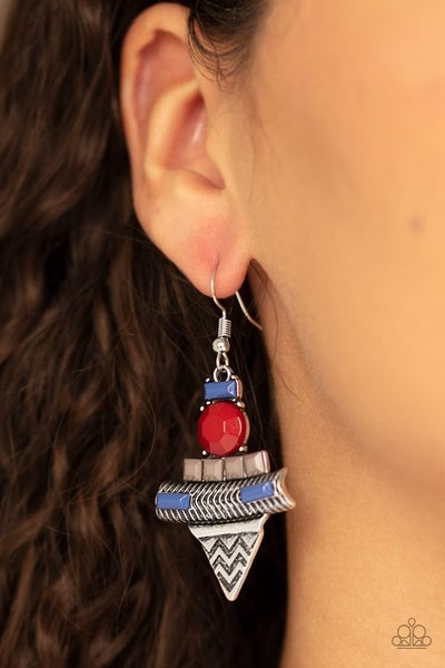 Tribal Terrain - Silver with Red, White & Blue Earrings